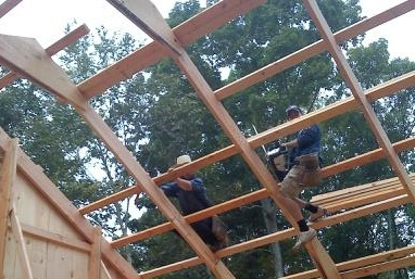 Construction of two story 24 foot high Horse Barn